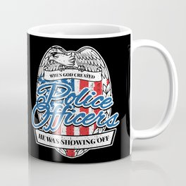 Patriotic Police Officer American Flag Coffee Mug