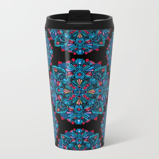 Pink, light blue floral mandala on black Metal Travel Mug