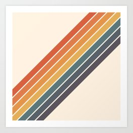 Arida -  70s Summer Style Retro Stripes Art Print