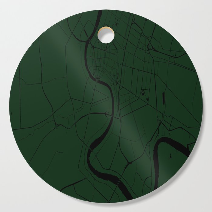 Bangkok Thailand Minimal Street Map - Forest Green and Black Cutting Board  by mapmaker