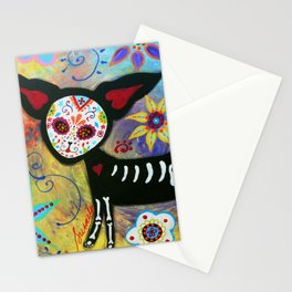 MEXICAN CHIHUAHUA DIA DE LOS MUERTOS PAINTING Stationery Cards