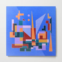 Modern City view in abstract geometric shapes Metal Print