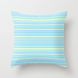Sky Blue & Light Yellow Candy Lines Throw Pillow