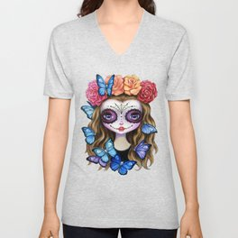 Sugar Skull Gil with Flower Crown and Butterflies Unisex V-Neck