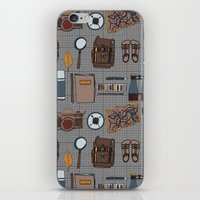 kit king iPhone & iPod Skins featuring Explorers kit by Laura Barnes