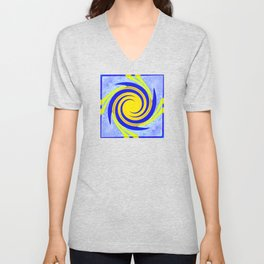 Colorful yellow and blue spiral swirling elliptical constellation star galaxy abstract design Unisex V-Neck
