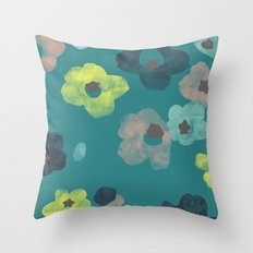 Watercolor Blooms - in Teal Throw Pillow
