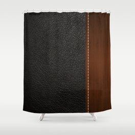 Black leather look Shower Curtain