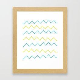 Lime & Teal Zig Zag Framed Art Print