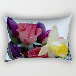 Vibrant bouquet of flowers in the snow Rectangular Pillow