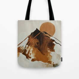abstract mountains, rustic orange sunrise Tote Bag