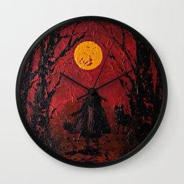 Riding Hood in Shadows Wall Clock