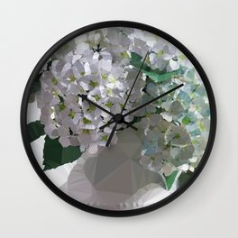 White Hydrangea Still Life Low Poly Abstract Digital Art Painting Wall Clock
