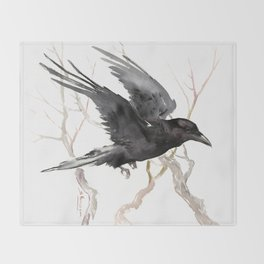 Flying Raven Art Throw Blanket