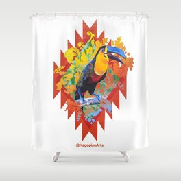 Eco Mural Project 10: Channel-Billed Toucan Shower Curtain