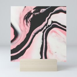 Modern Girly Coral Pink Black Marble Paint Mini Art Print