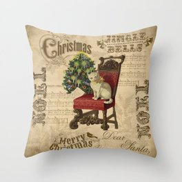 Vintage Christmas Cat Throw Pillow