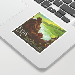 Earth Retro Space Poster Sticker