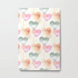 Watercolour Hearts Metal Print