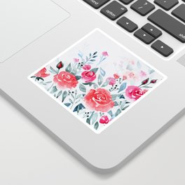 Red roses watercolor painting Sticker