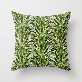 Palms on Stitch Pattern - Blue White Gold Throw Pillow