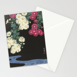 Chrysanthemums and Running Water Stationery Cards