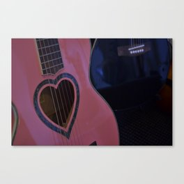 Pink Heart Guitar Canvas Print