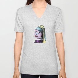 Robot with a Pearl Earring Unisex V-Neck
