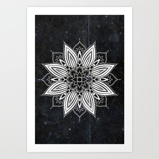 Flower Mandala in the Stars Art Print