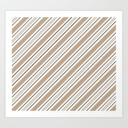 Pantone Hazelnut Nutmeg and White Thick and Thin Angled Lines - Stripes Art Print