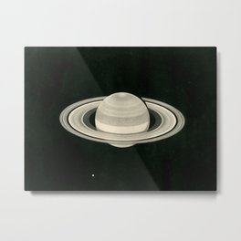 Print of a drawing by Warren De la Rue of Saturn and its moons Tethys and Enceladus - 1852 Metal Print