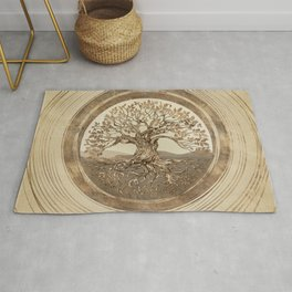 Tree of life -Yggdrasil Pastel Gold Rug