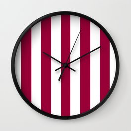 Pink raspberry purple - solid color - white vertical lines pattern Wall Clock