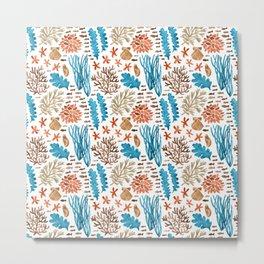 Coral Reef Watercolor Pattern- Teal Metal Print