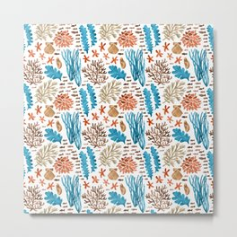 Coral Reef Watercolor Pattern- Teal Metal Print