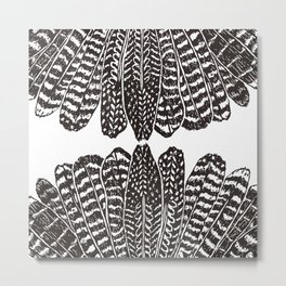TRIBAL FEATHERS - BLACK Metal Print
