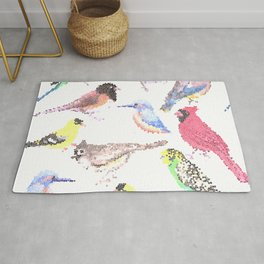 colorful birds stained glass art- budgie cardinal goldfinch titmouse kingfisher cedar waxwing juncos Rug