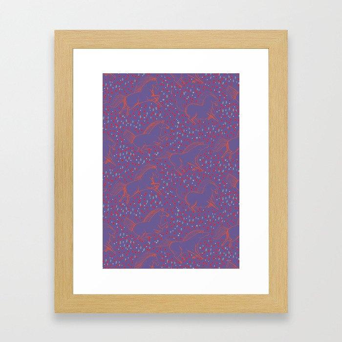 Wild Horses by Friztin - Ultra Violet Framed Art Print