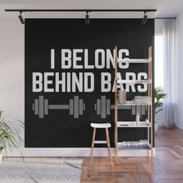 Behind Bars Gym Quote Wall Mural