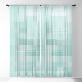 geometric square pixel pattern abstract in green Sheer Curtain