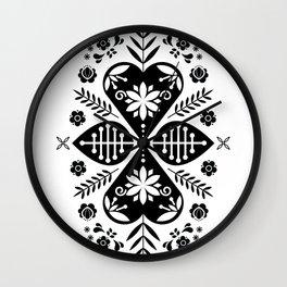 Monochrome Scandi Folk Pattern Art Wall Clock