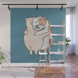 English Bulldog Hugs Wall Mural