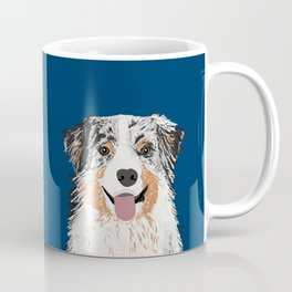 Australian Shepherd blue merle cute pet portrait dog person must have gifts for aussie owner  Coffee Mug