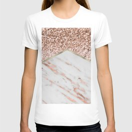Shimmering rose gold with rose gold marble T-shirt
