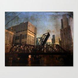 Chicago Skyline Chicago River Drawbridge Canvas Print
