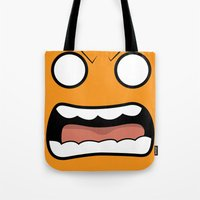 scary Tote Bags featuring Scary Face by Tombst0ne