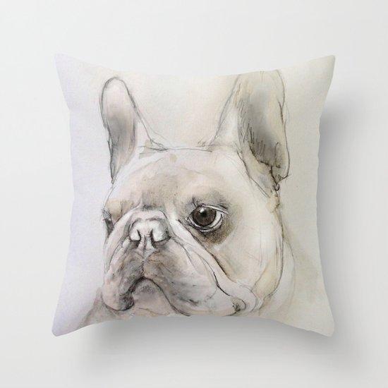 Frenchie portrait Throw Pillow