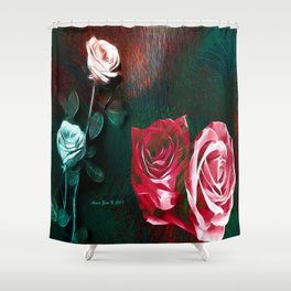 Roses Digital Art By Annie Zeno Shower Curtain