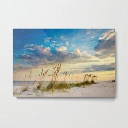 Sea Oats Beach Sunset Metal Print