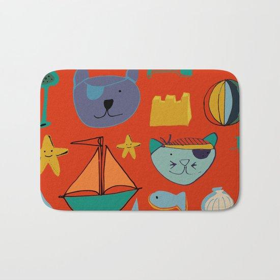 cat and bear pirate red Bath Mat